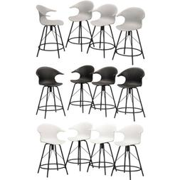 4× Swivel Plastic Bar Stools with Arm Dinning Chairs Counte