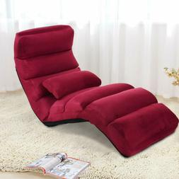 Adjustable Red Chaise Lounge Recliner Lazy Sofa Bed Folding