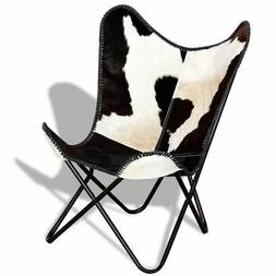 vidaXL Butterfly Chair Real Cowhide Leather Black and White