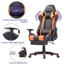 Computer Gaming Chair Office Chair Retractable Footrest Lumb
