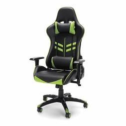 Essentials High Back Gaming Chair Green Bonded Leather