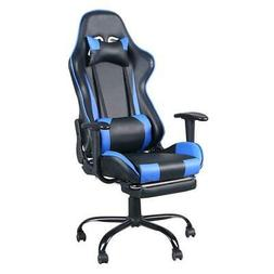 Executive Gaming Chair with Footrest Racing Office Chair Blu