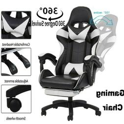 Gaming Chair Height Adjustable Footrest Racing Ergonomic Off