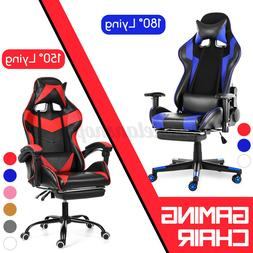 Gaming Chair Racing Leather Office Recliner Computer Desk Se