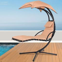 Giantex Hanging Chaise Lounger Chair Arc Stand Porch Swing H