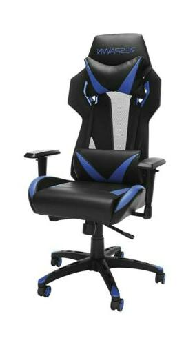 205 racing style gaming chair blue black