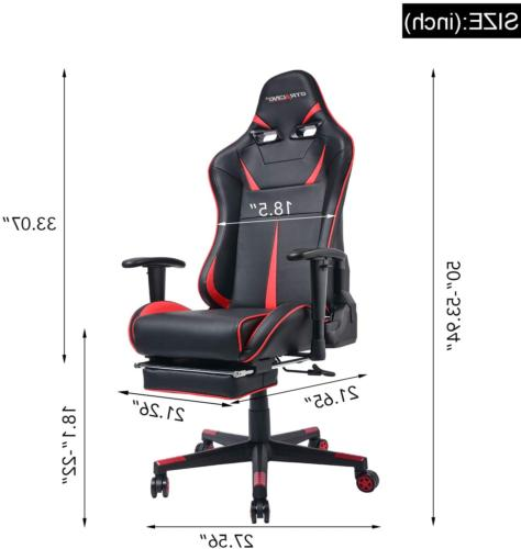 Computer Gaming Chair w/ Footrest & Adjustable Recliner
