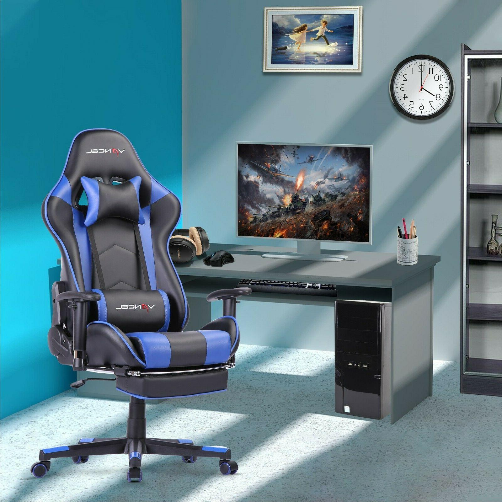 Computer Gaming Chair Racing Style with Footrest Lumbar Mass