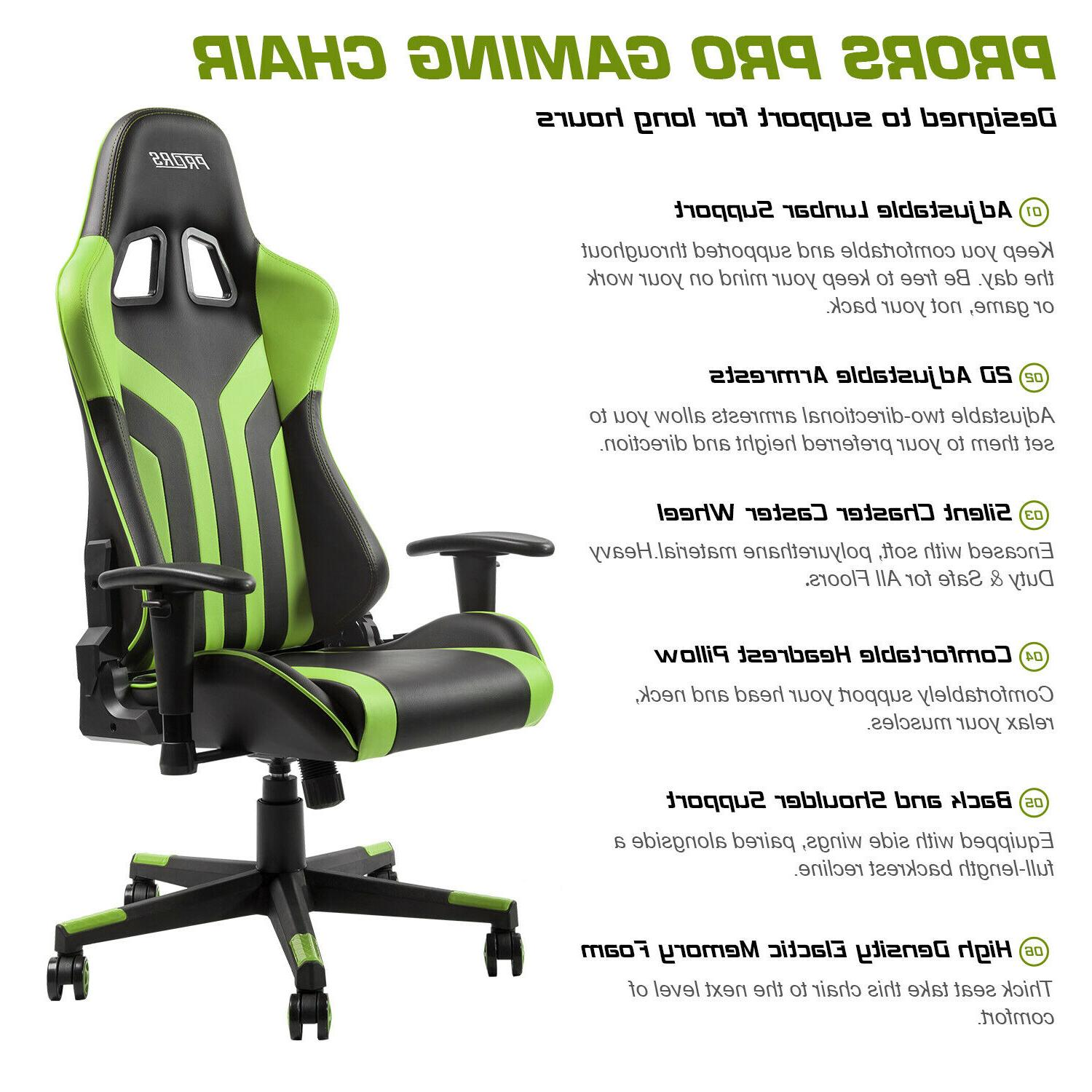 Gaming Chair 180° Recliner Seat Swivel