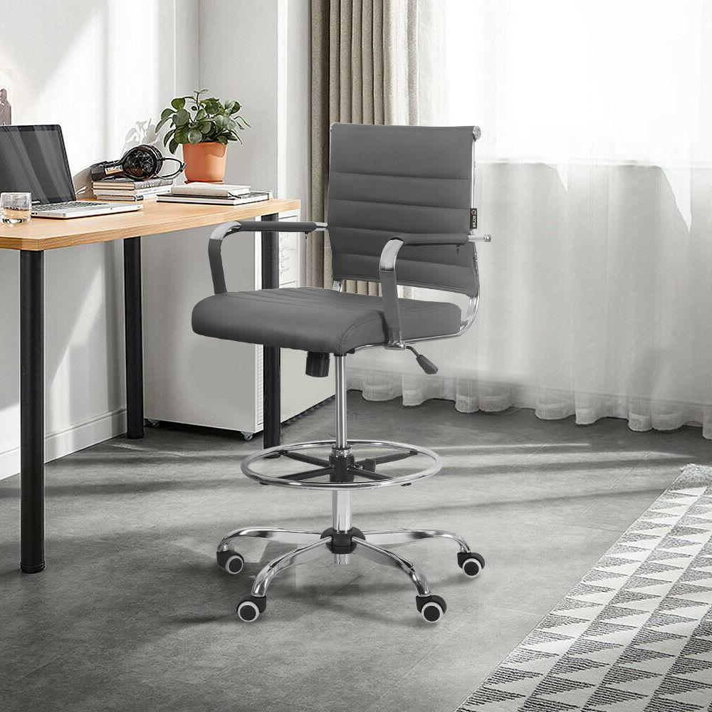 Ergonomic Computer Office Chair Gaming Drafting PU Leather E