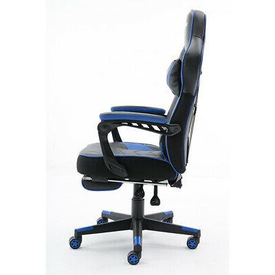 Racing Chair Leather Swivel Office Computer Chair Blue