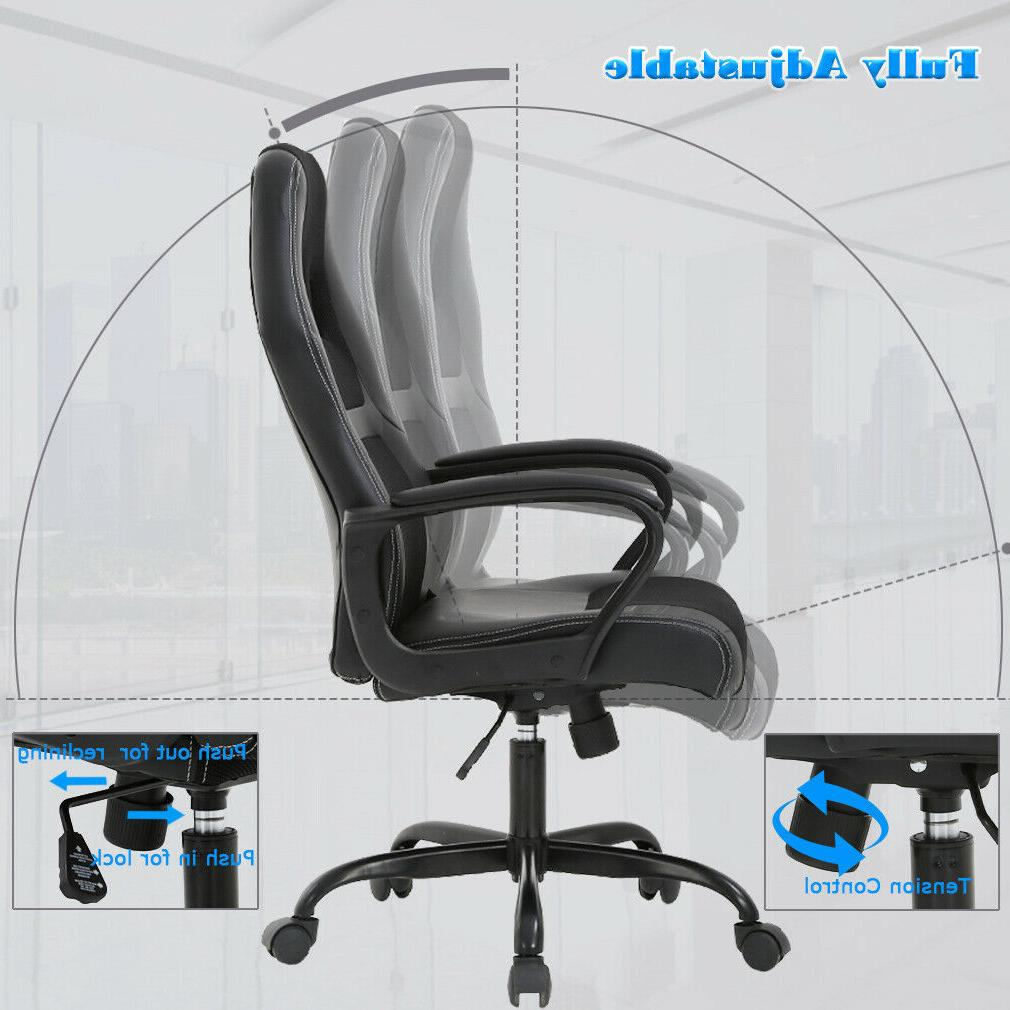 Office Gaming Desk Ergonomic Leather Chair w Metal