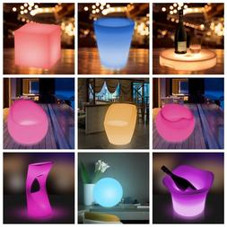 LED Color Light Up Furniture Chairs Bar Stool Ball Cube Buck