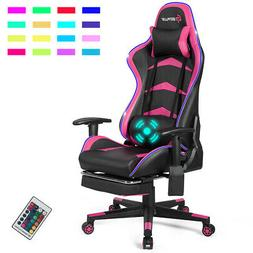Massage LED Gaming Chair with Lumbar Support & Footrest-Pink