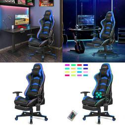 Massage LED Gaming Chair With Lumbar Support & Amp; Footrest