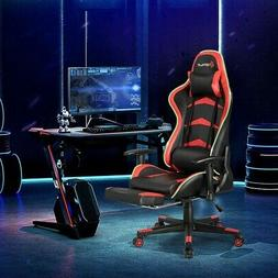 Massage LED Gaming Chair With Lumbar Support And Footrest