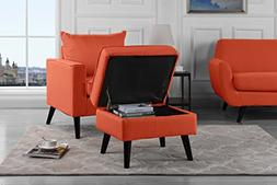 Mid-Century Modern Living Room Large Accent Chair with Footr