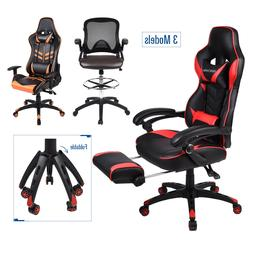 Office Racing Gaming Chair Drafting Stool Leather High Back