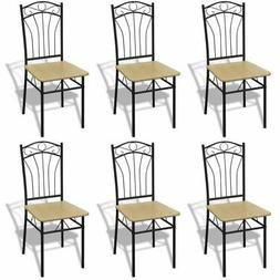 vidaXL Set of 6 Metal Dining Chairs Seat Kitchen Dining Room