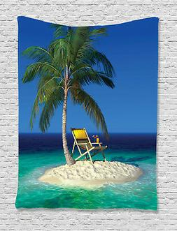 Tropic Tapestry Chair under a Palm Tree Print Wall Hanging D