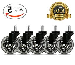 Universal Office Chair Caster Wheels Set of 5 Heavy Duty & S